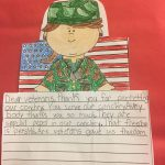 Piece of student writing with military picture attached