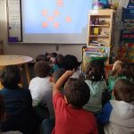 Students looking at circles on the board