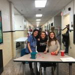 Student greeters at the science fair