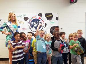 Miss Virginia and a class at World Milk Day