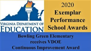 Picture of a torch, Virginia Department of Education, Exemplar Performance School Award, Bowling Green Elementary  receives VDOE  Continuous Improvement Award