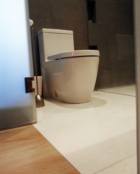 Newly installed tile and toilet