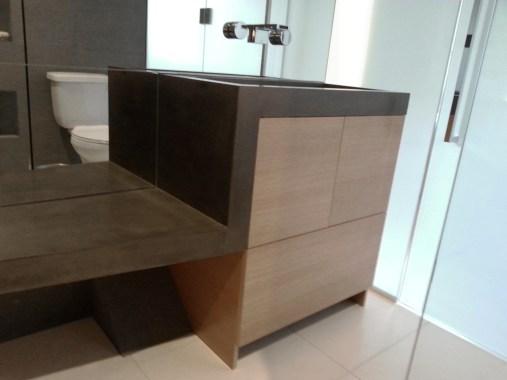 Newly installed bathroom vanity and sink