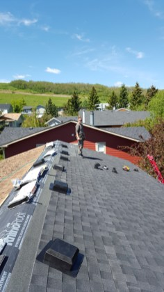 Putting the new roofing material on