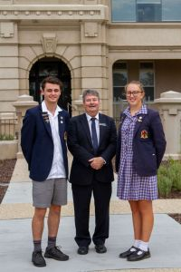 Principal Chris Randell with College Captains Murray Casella and Emily Knobel