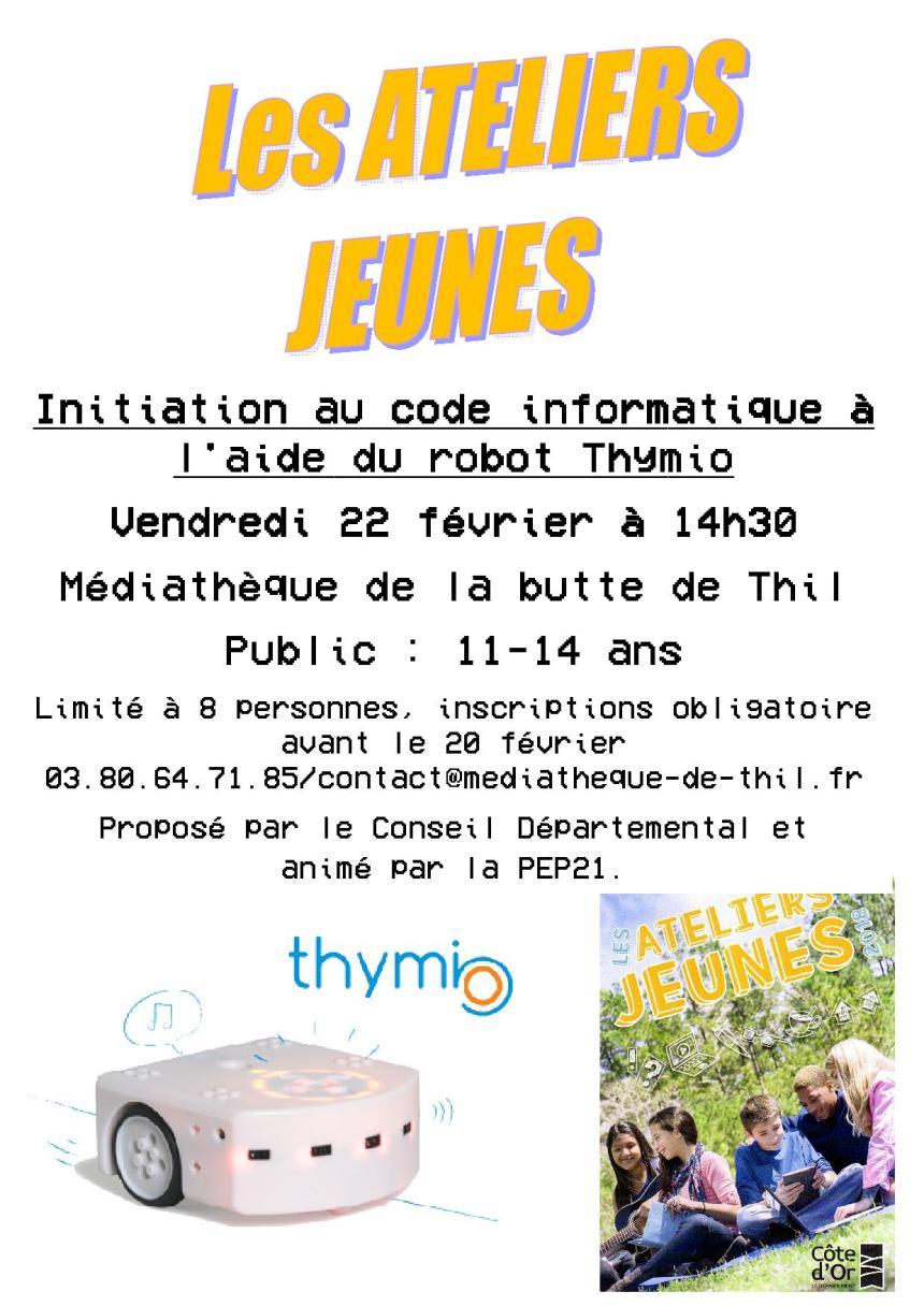 Ateliers jeunes – Initiation au code informatique – Médiathèque de la butte de Thil