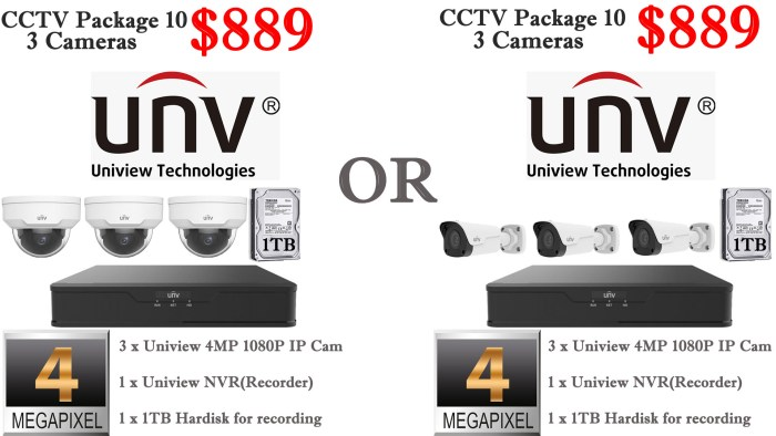 Uniview 4MP 3 Cameras Package