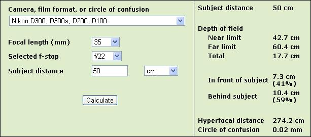 DoF calculator - www.dofmaster.com