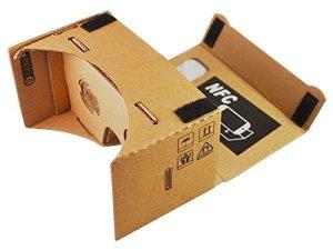 Google Cardboard Visore di Realtà Virtuale Lunghezza Focale 45mm - Versione Marrone - con Tag NFC gratuito e fascia per la testa