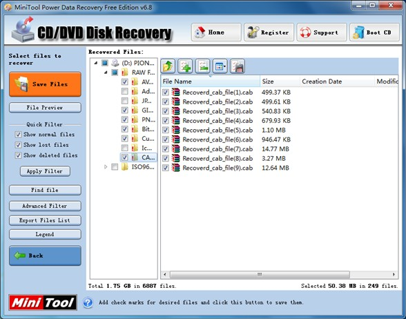 Recover files from CD1