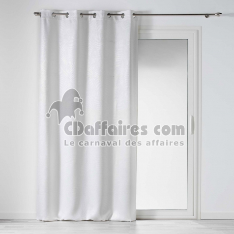 rideau occultant 140 x 240 cm en velours frappe tropicaline blanc cdaffaires