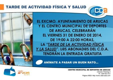 CARTEL Tarde de Actividad Fisica y Salud cda Enero 2014
