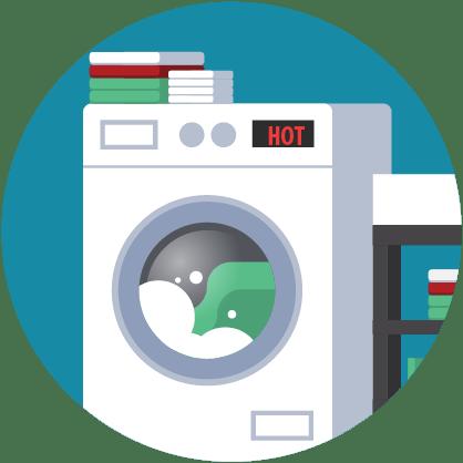 Afbeelding: wasmachine met 'heet'