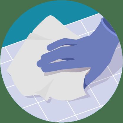 Illustratie: handreiniging met keukenpapier