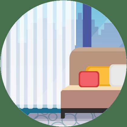 Illustratie: zachte oppervlakken - gordijnen, bank, kussens