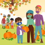 illustration of two families wearing face masks while selecting pumpkins in a pumpkin patch