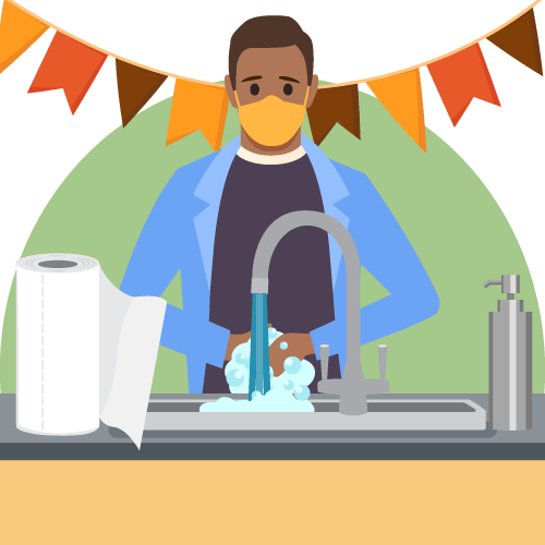 illustration of a person wearing a mask washing their hands