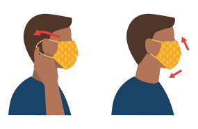 fitting a cloth facemask to your face. The mask should cover from below your chin to above your nose, and be pinched to fit the bridge of your nose snugly.
