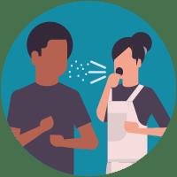 Illustratie: vrouw die op de man niest