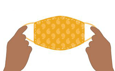graphic of hands holding an orange mask