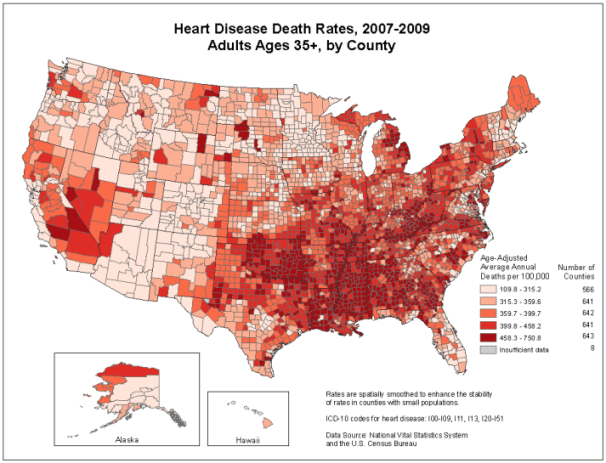 During 2007-2009, death rates due to heart disease were the highest in the South and lowest in the Western United States.