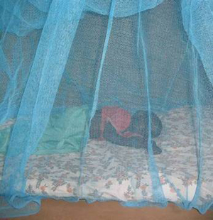 CDC image of a child sleeping under an insecticide treated bednet (ITN) to prevent bites from malaria-carrying mosquitoes.