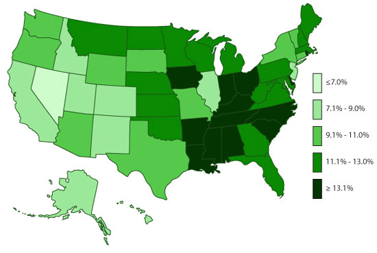 State-based Prevalence Data of ADHD Diagnosis (2011-2012): Children EVER diagnosed with ADHD