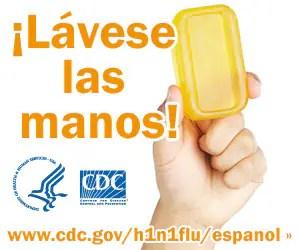 Lávese las manos con agua limpia y jabón. Para obtener más información consulte www.cdc.gov/h1n1flu/espanol/