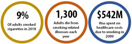 9% of adults smoked cigarettes in 2018; 1,300 adults die from smoking-related illnesses each year; $542M was spent on healthcare costs due to smoking in 2009