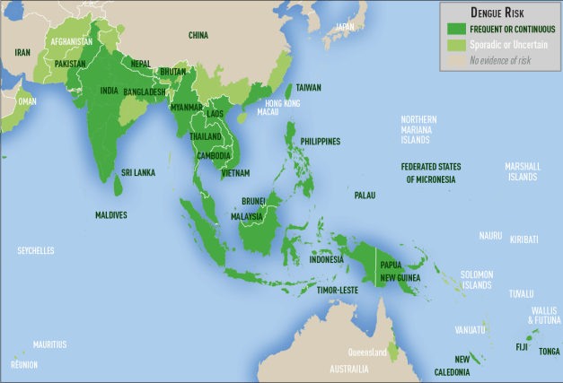 Map 3-03. Distribution of dengue in Asia and Oceania
