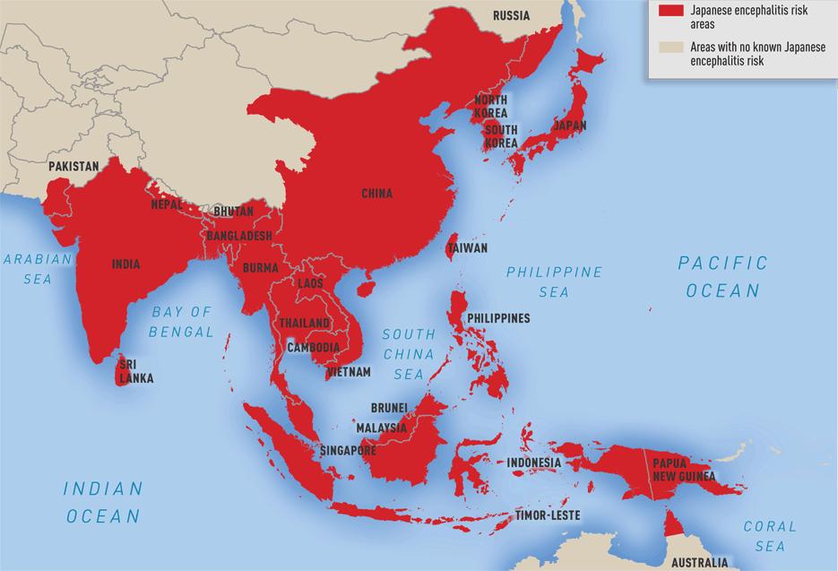 Map 3-08. Geographic distribution of Japanese encephalitis