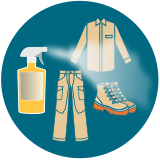 a bottle of insect repellent shown spraying clothing