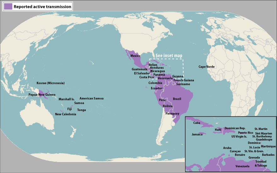 World map showing countries and territories with reported active transmission of Zika virus (as of May 5, 2016). Countries are listed in the table below.