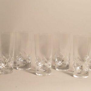 Lalique France: 6 verres haut en cristal à décor taillé de feuilles stylisée
