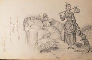 ALBUM DE DESSINS-croquis-voyage du soldat d'artillerie et de cavalier