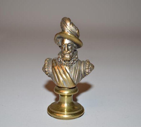 Sceau à cachet représentant un buste d'homme en bronze doré - XIX