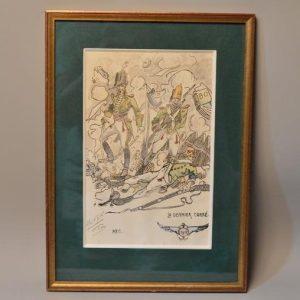 Dessin aquarelle - caricature 1912 - Le dernier carré