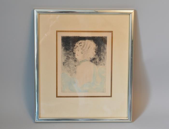 Eau forte-Portrait de femme dans le gout Art nouveau