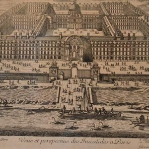 Estampe: Veüe et perspective cour royale de Paris