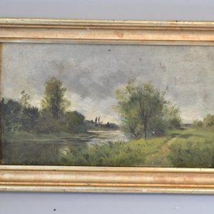 Tableau Ecole XIX - Paysage bord de rivière