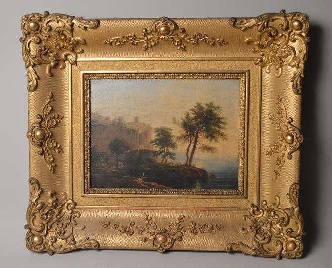 Tableau – Ecole française du XIXe siècle. Paysage de bord de mer et pèlerinage