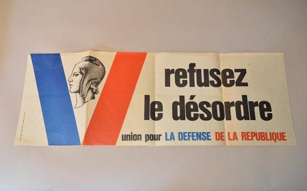 Affiche – Refusez le désordre Union pour la Défense de la République – Mai 68