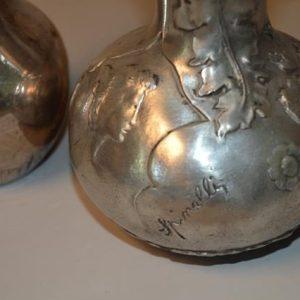 Spinelli : vase en étain art nouveau + vase métal argenté