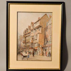 Magnifique tableau aquarelle représentant une scène de rue animée