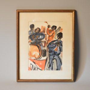Aimé Daniel STEINLEN (1923-1996) - Chanteur de jazz - dessin aquarelle