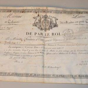DE PAR LE ROI - Certificat de garde de la marine sur parchemin