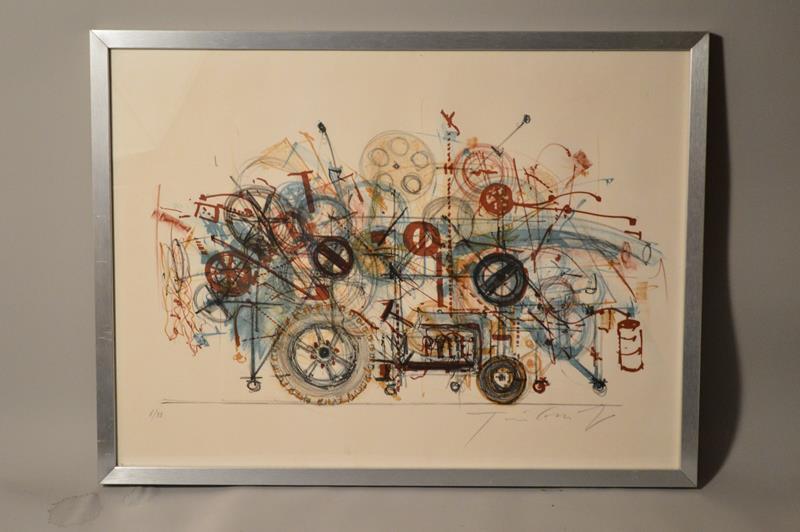 Jean TINGUELY (1925-1991) – Lithographie tracteur surréaliste
