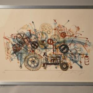 Jean TINGUELY (1925-1991) : Lithographie tracteur surréaliste