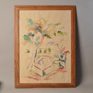 Georges Albert CYR (1880-1964) - Dessin-Aquarelle - scène de parc