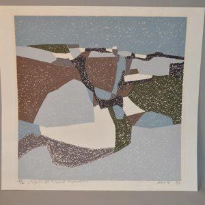 """Jean Pierre LERMITE (1920-1977): Lithographie """"PAQUES 70"""" paysage bayardin"""